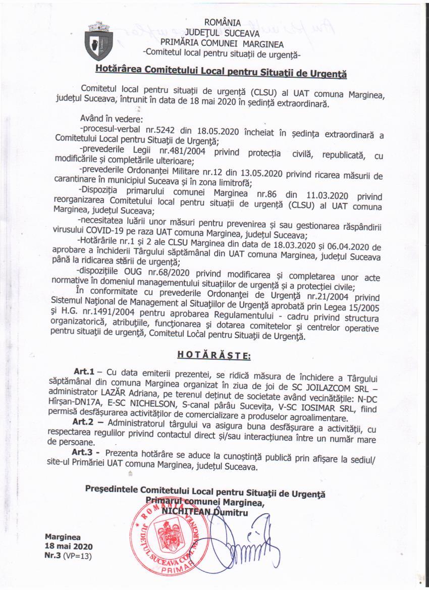 Hotararea Comitetului Local pentru Situatii de Urgenta